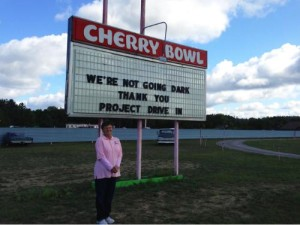 Cherry Bowl Drive-In marquee showing Thank You